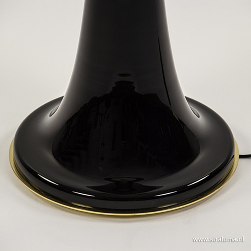 Grote glazen vloerlamp zwart met goud