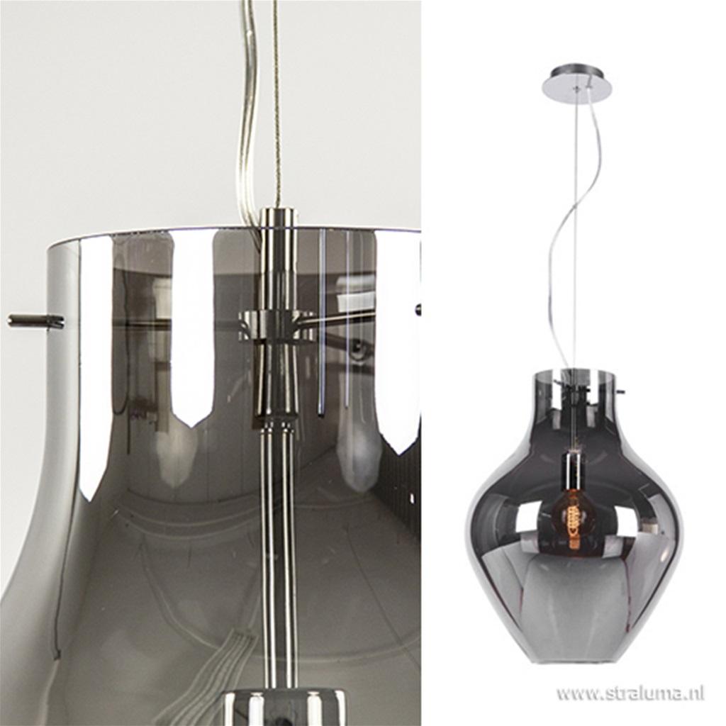 Glazen hanglamp smokey/chroom groot