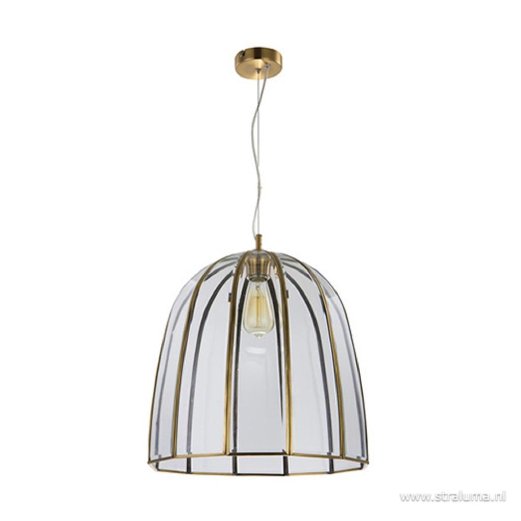 Bronzen hanglamp met glas groot