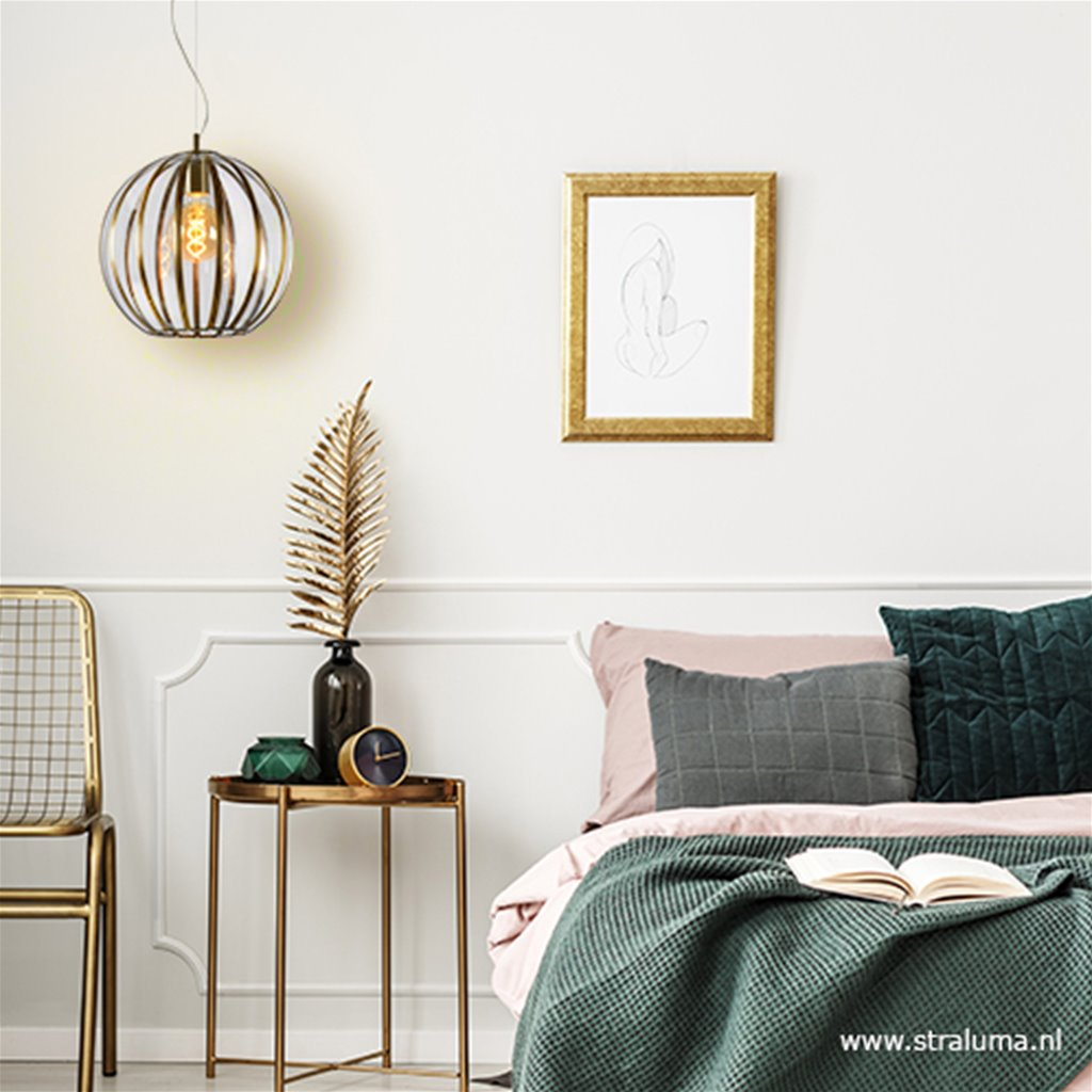 Ronde hanglamp brons met glas