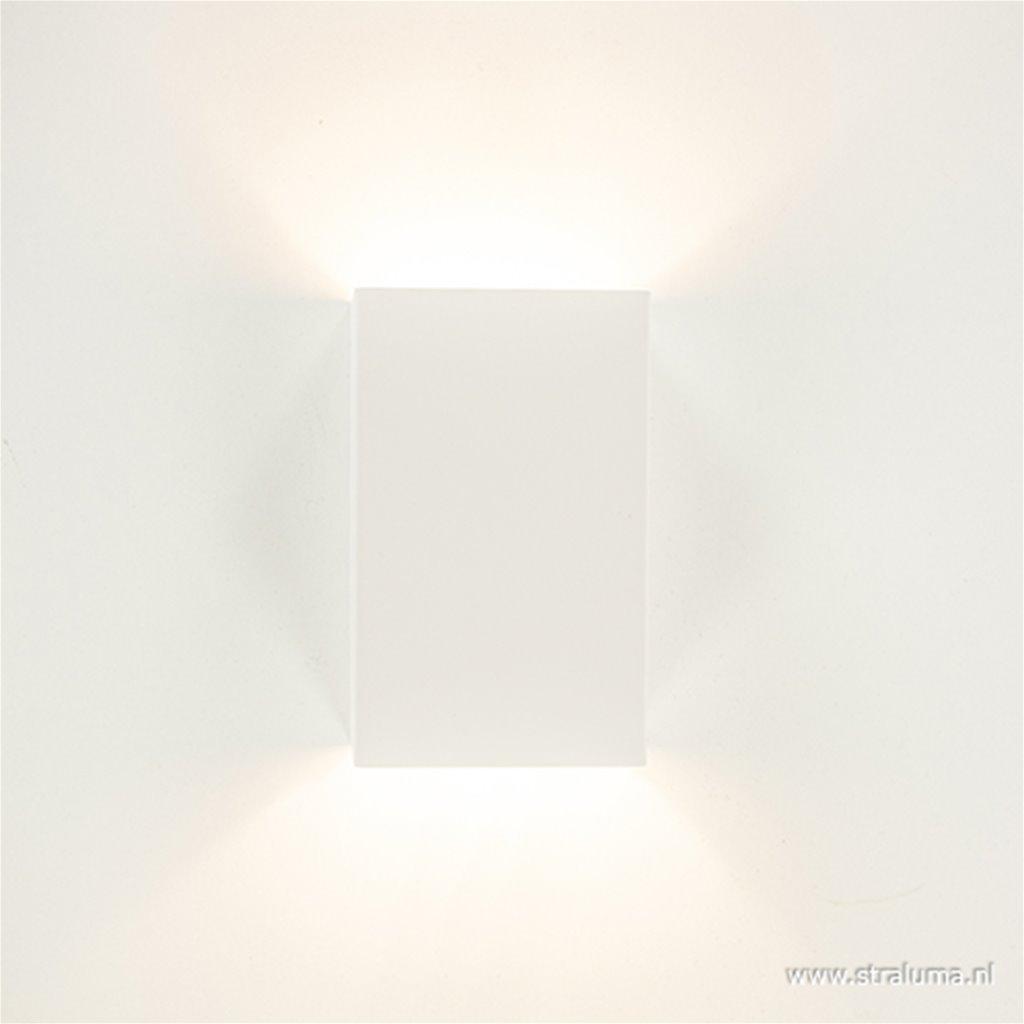 *Witte wandlamp metaal up en down