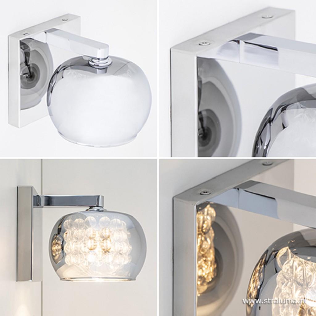 Luxe wandlamp Pearl met glas en chroom