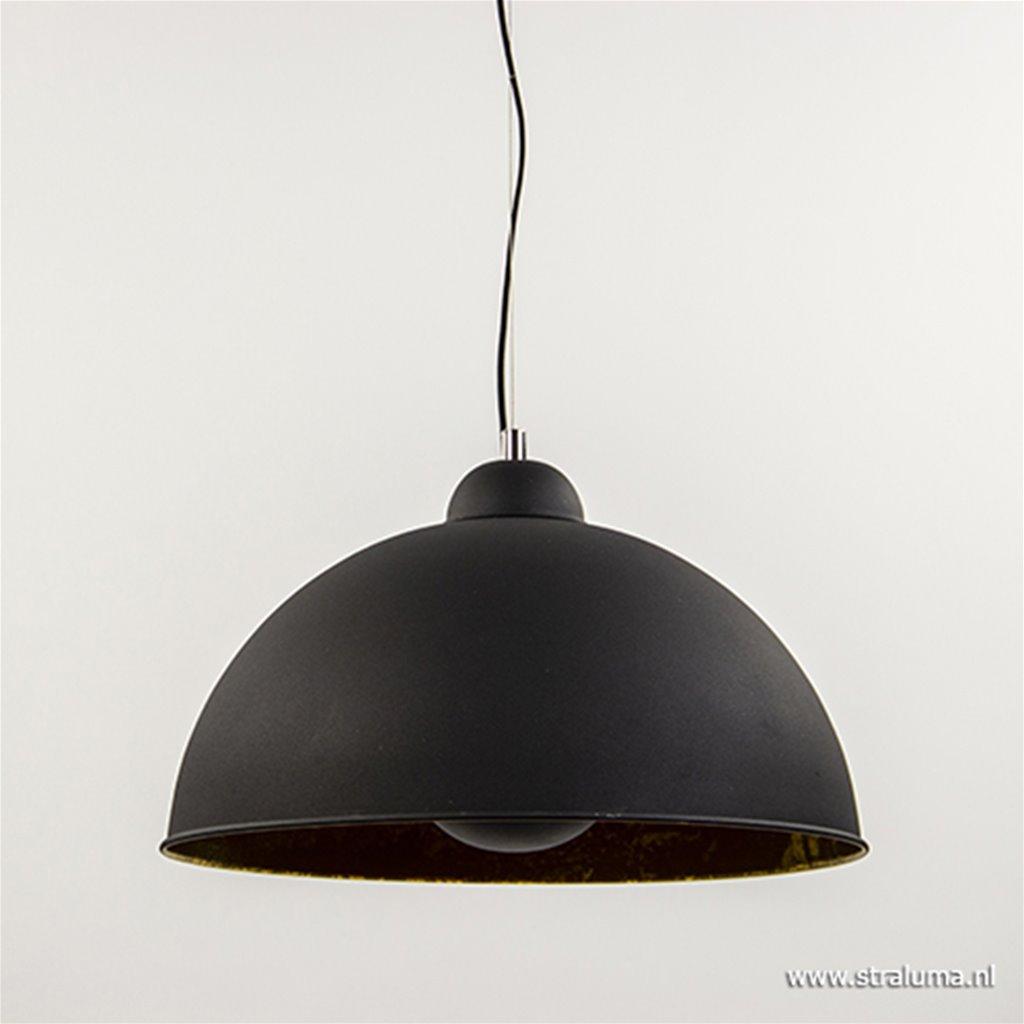 Hanglamp koepel 38cm zwart/goud