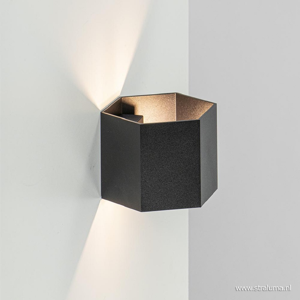 Moderne wandlamp up+down lighter zwart