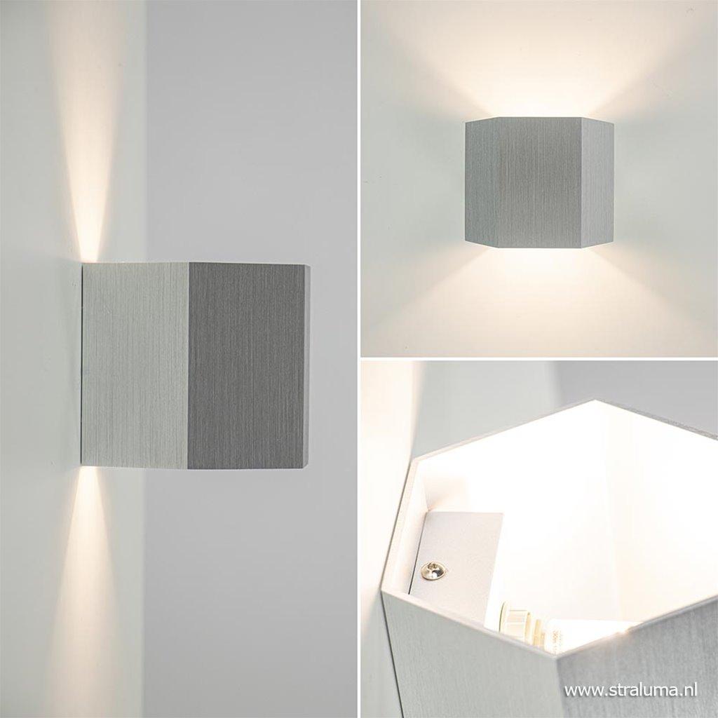 Aluminium wandlamp 6-hoek up+down