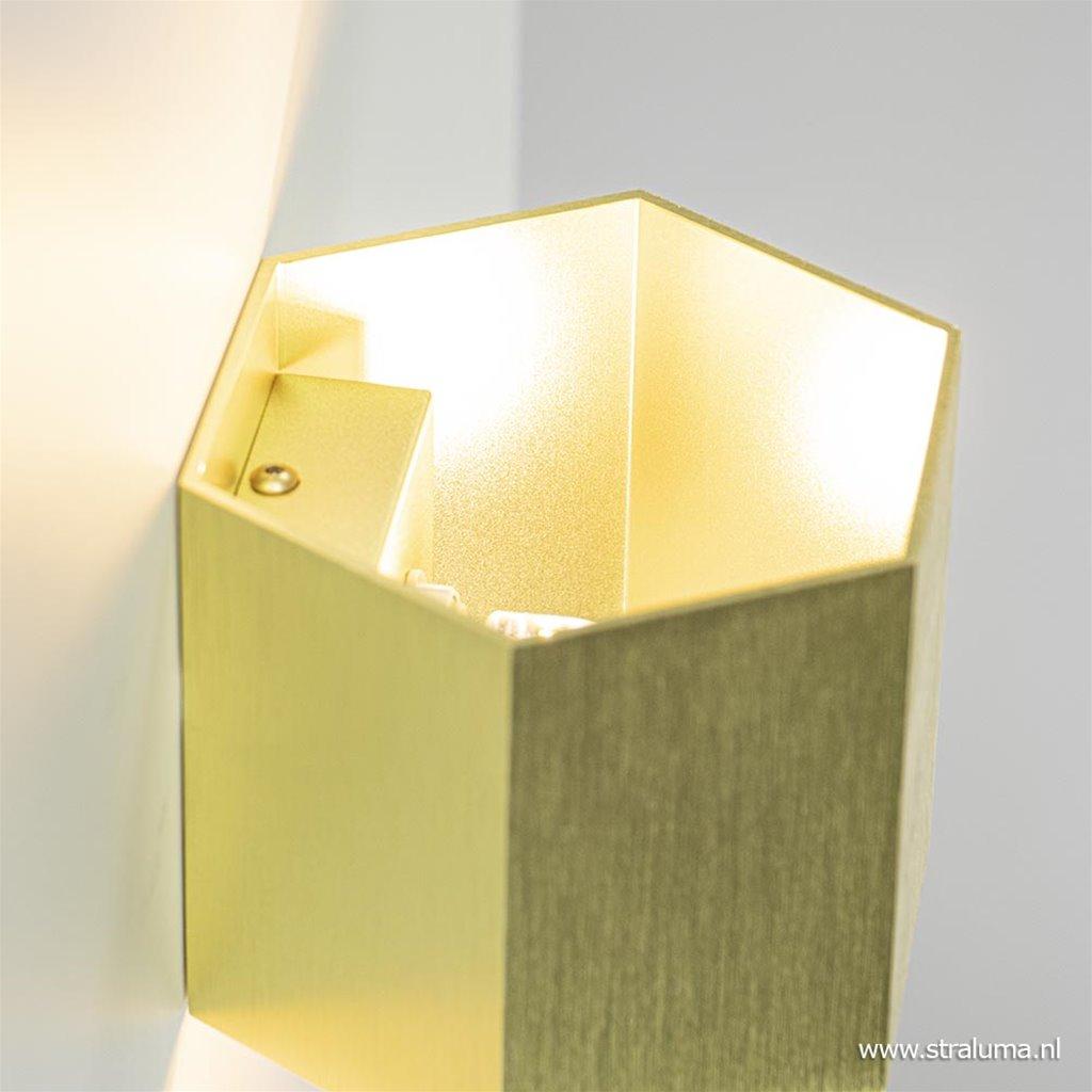 Trendy wandlamp up+down 6-hoek goud