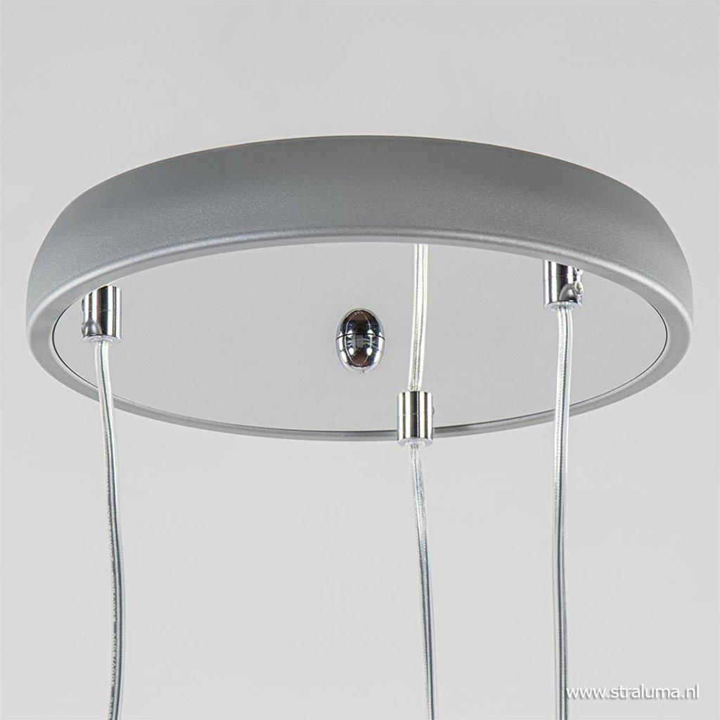 3-Lichts hanglamp chroom met smokey glazen kappen