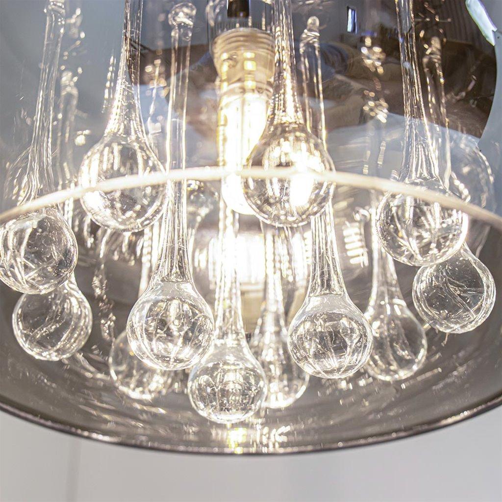 Sfeervolle wandlamp Pearl smoke glas met chroom