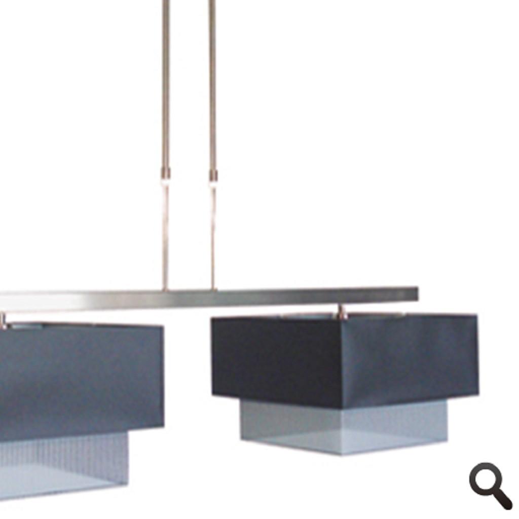 Hanglamp RVS eettafel dubbele kap