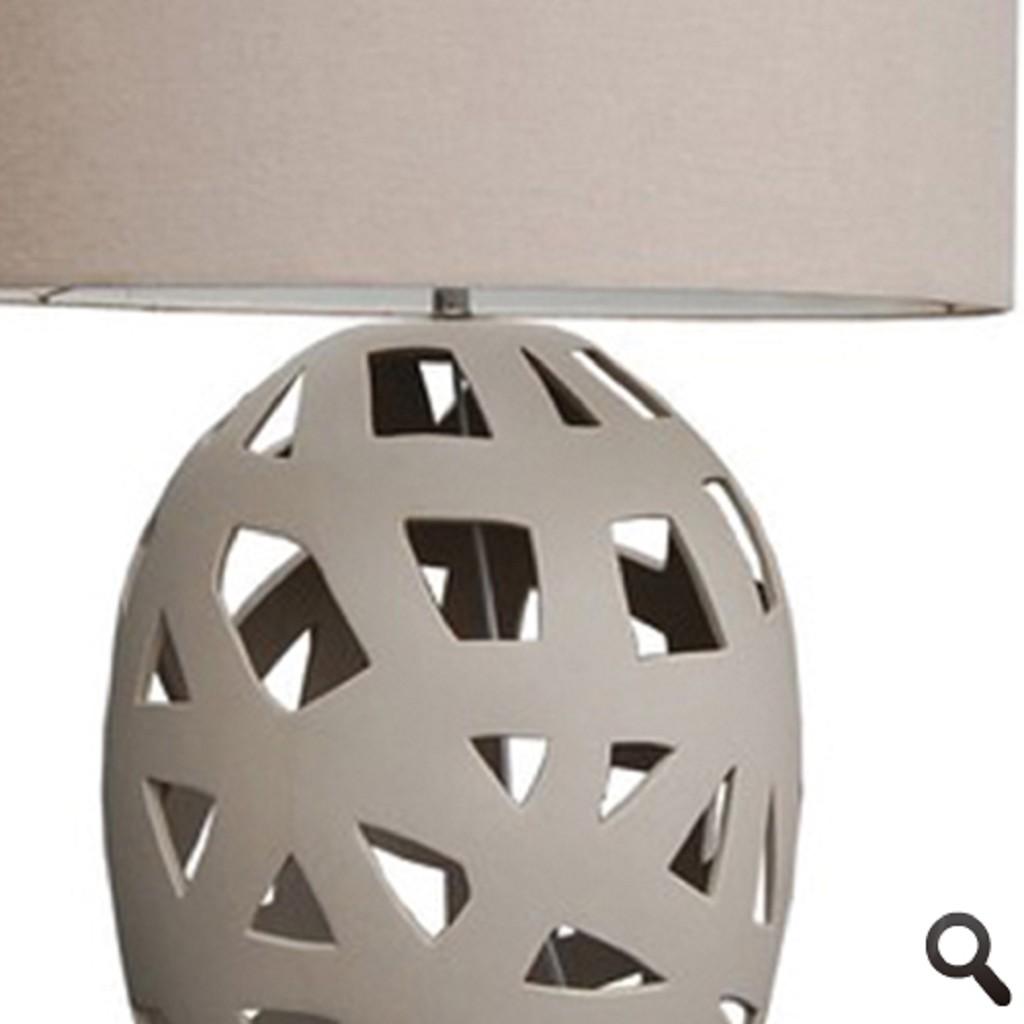 Opengewerkte mozaiek tafellamp beige