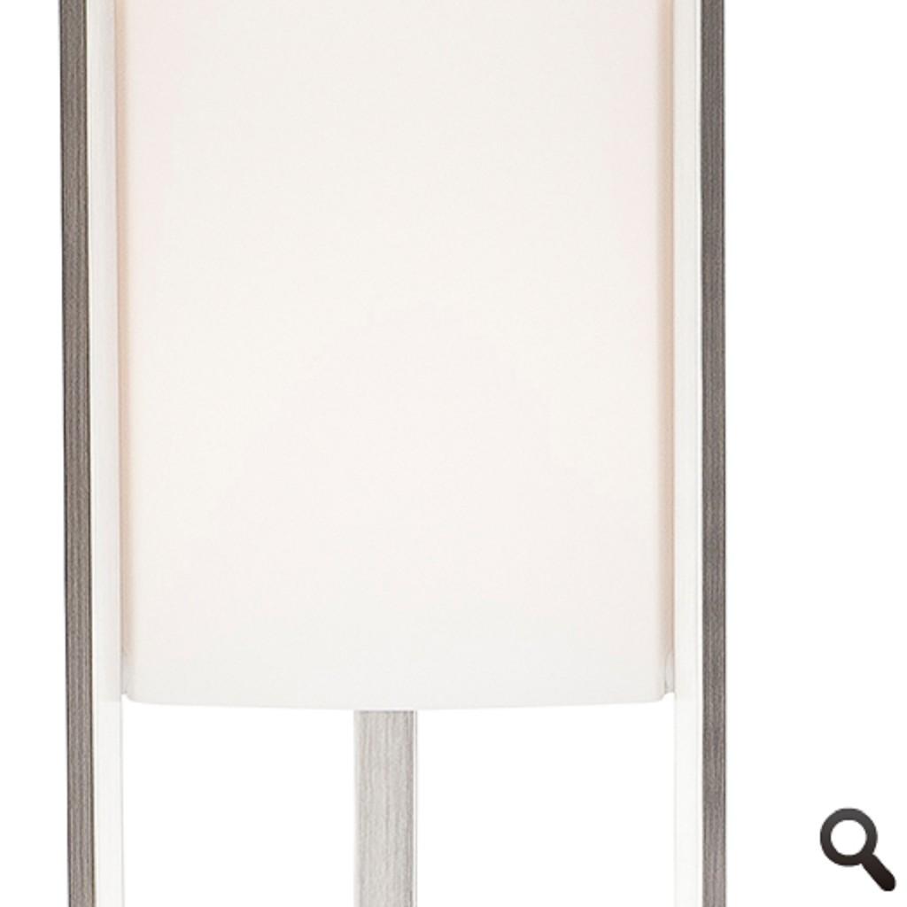 Vloerlamp RVS met glazen kap wit