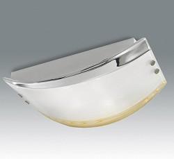 * Outlet wandlamp groot chroom glas geel